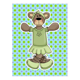 Green Tutu Ballet Bear Postcard