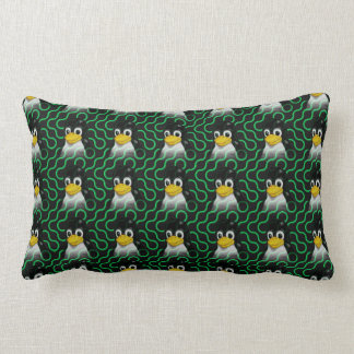 Green Tux Truchet Lumbar Pillow
