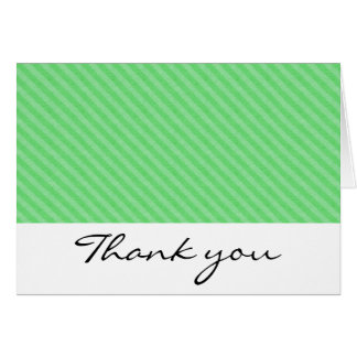Green Twill Stripes Thank You Notes
