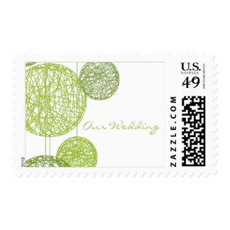 Green Twine Globes Wedding Postage Stamp