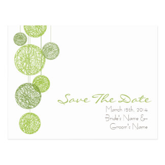 Green Twine Globes Wedding Save The Date Postcard