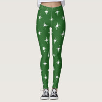 green twinkles sparkles all over printed leggings