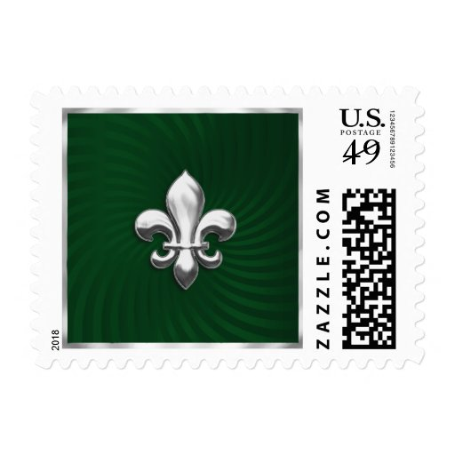 Green Twirl Background and Silver Fleur de Lis Postage