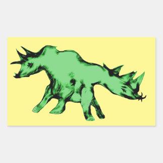 Green Two Headed Alien Animal Rectangular Sticker