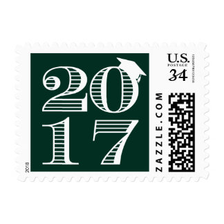 Green Typography Class of 2017 Graduation Stamp