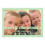 "Green Typography Merry Christmas Flat Photo Card 5"" X 7"" Invitation Card"