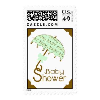 Green Umbrella Baby Shower Postage