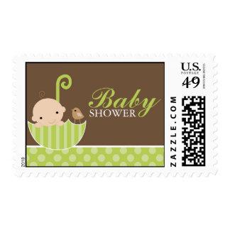 Green Umbrella Baby Shower Stamps