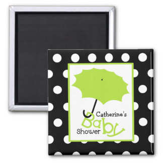Green Umbrella Baby Shower - White Polka Dots 2 Inch Square Magnet