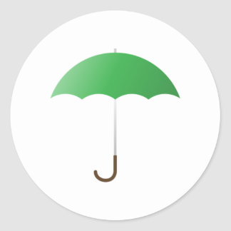 Green Umbrella Classic Round Sticker