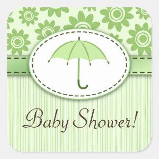 Green umbrella floral pattern baby shower stickers
