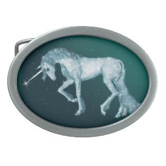 Green Unicorn Sparkles Oval Belt Buckle