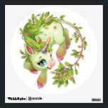 """Green unicorn wall decal<br><div class=""""desc"""">Of a pretty green unicorn with pink flowers.</div>"""