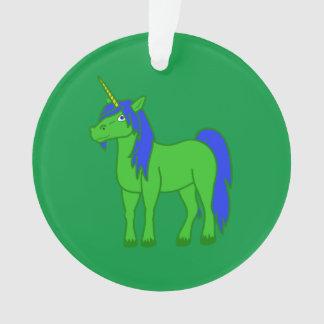Green Unicorn with Blue Mane Ornament