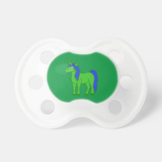 Green Unicorn with Blue Mane Pacifier