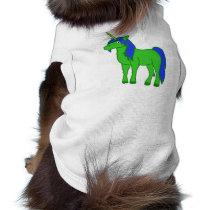 Green Unicorn with Blue Mane Shirt