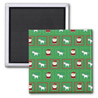 Green unicorns santa claus pattern 2 inch square magnet