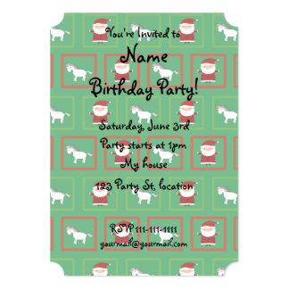 Green unicorns santa claus pattern 5x7 paper invitation card