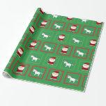 Green unicorns santa claus pattern wrapping paper