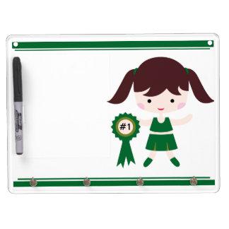Green Uniform Cheerleader Dry Erase Board