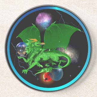 Green Universe Dragon-circle Sandstone Coaster