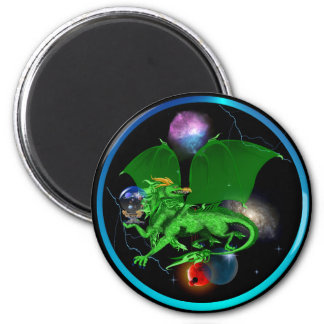 Green Universe Dragon-Magnets 2 Inch Round Magnet