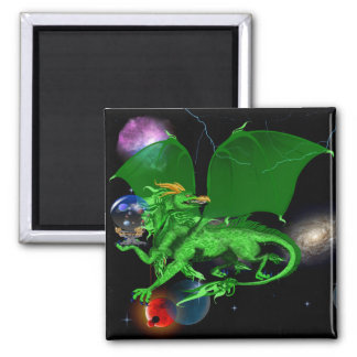 Green Universe Dragon_Magnets 2 Inch Square Magnet