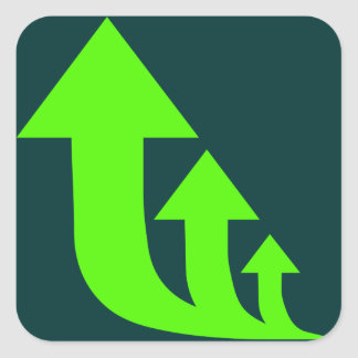Green Up Arrows Square Sticker