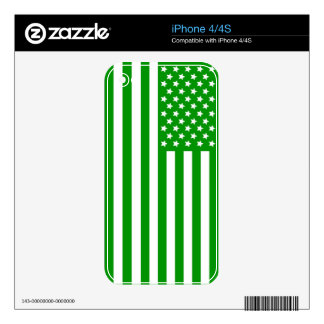 Green USA Flag Skin For iPhone 4S