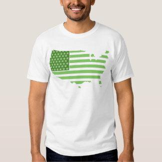 Green USA Flag Tee Shirt