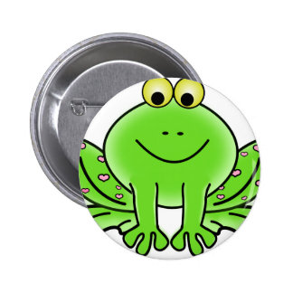 Green_Valentine_Frog_with_pink_hearts.png Pinback Buttons