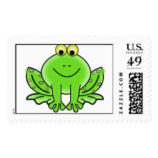 Green Valentine Frog with pink hearts Postage