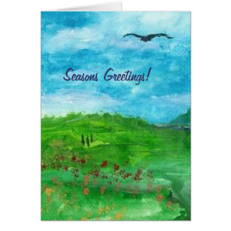 GREEN VALLEY Christmas Greeting Card by R Carosin