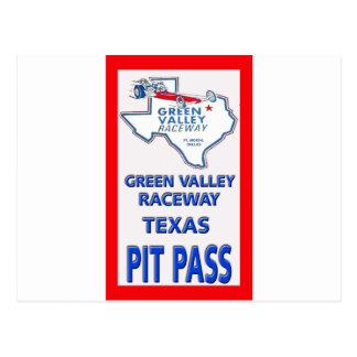 Green Valley Raceway Pit Pass Postcard
