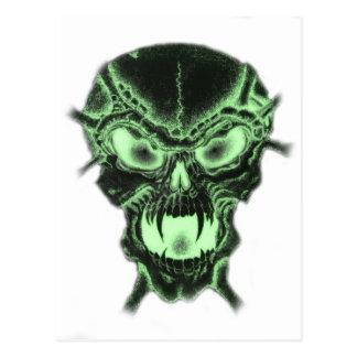 Green Vampire Skull Postcard