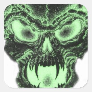 Green Vampire Skull Square Sticker
