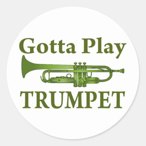Green Variegated Gotta Play Trumpet Gift Classic Round Sticker