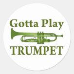 Green Variegated Gotta Play Trumpet Gift Round Stickers