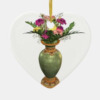 Green Vase and Floral Arrangement Christmas Ornaments