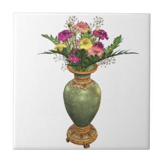 Green Vase and Floral Arrangement Tile