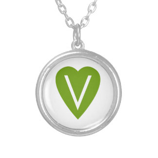 Green Vegan Heart Round Pendant Necklace