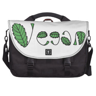 Green Vegan Leaves Laptop Commuter Bag