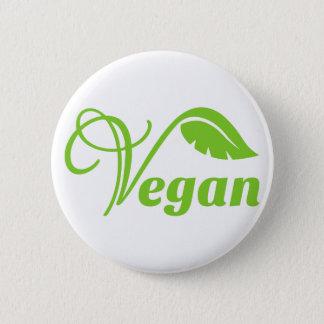 Green vegan logo pinback button
