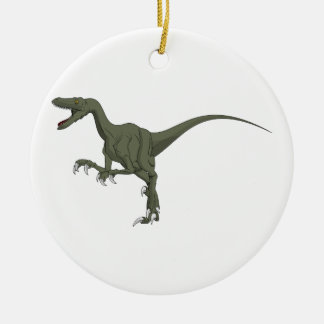 Green Velociraptor Dinosaur Ceramic Ornament