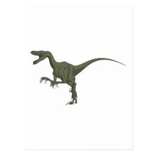 Green Velociraptor Dinosaur Postcard