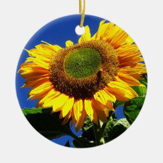 Green Velvet Sunflower Round Ornament