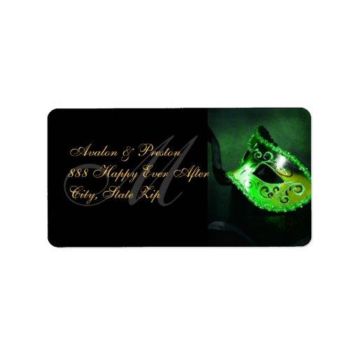 Green Venetian Masquerade Mask Address Label