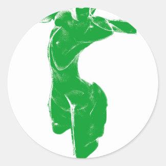 Green Venus of Milo Classic Round Sticker