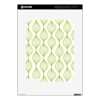 Green vertical ogee pattern background decal for iPad 3