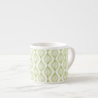 Green vertical ogee pattern background espresso cup